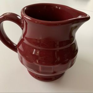 Longaberger USA red woven tradition pitcher cream
